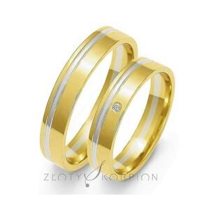 Obrączki złote dwukolorowe z kamieniami nr ZO OE-18 Sezam - 1