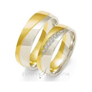Obrączki złote dwukolorowe z kamieniami nr ZO OE-216 Sezam - 1