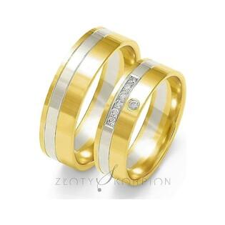 Obrączki złote dwukolorowe z kamieniami nr ZO OE-217 Sezam - 1