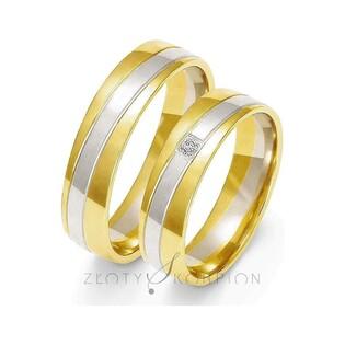 Obrączki złote dwukolorowe z kamieniami nr ZO OE-219 Sezam - 1