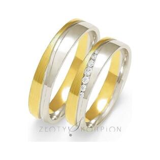 Obrączki ślubne dwukolorowe z kamieniami nr ZO OE-222 Sezam - 1