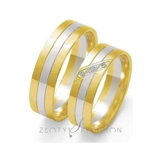 Obrączki złote dwukolorowe z kamieniami nr ZO OE-27 Sezam - 1