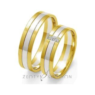 Obrączki złote dwukolorowe z kamieniami nr ZO OE-29 Sezam - 1