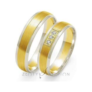 Obrączki złote dwukolorowe z kamieniami nr ZO OE-33 Sezam - 1