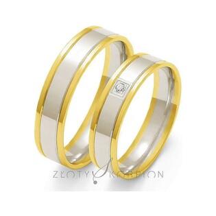 Obrączki złote dwukolorowe z kamieniami nr ZO OE-35 Sezam - 1