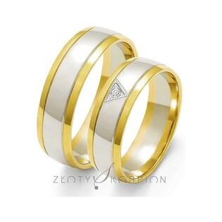 Obrączki złote dwukolorowe z kamieniami nr ZO OE-37 Sezam - 1