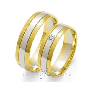 Obrączki złote dwukolorowe z kamieniami nr ZO OE-38 Sezam - 1