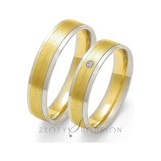 Obrączki złote dwukolorowe z kamieniami nr ZO OE-86 Sezam - 1