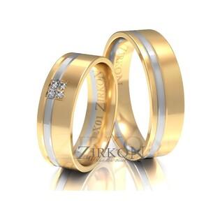 Obrączki ślubne dwukolorowe z kamieniami nr ZI X-001