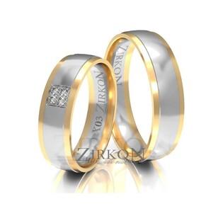Obrączki ślubne dwukolorowe z kamieniami nr ZI X-003