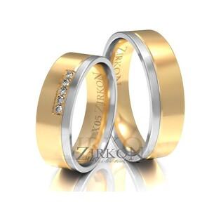 Obrączki ślubne dwukolorowe z kamieniami nr ZI X-005