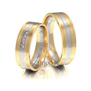 Obrączki ślubne dwukolorowe z kamieniami nr ZI X-008