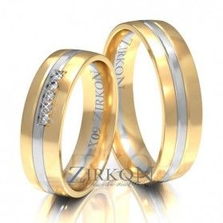 Obrączki ślubne dwukolorowe z kamieniami nr ZI X-009