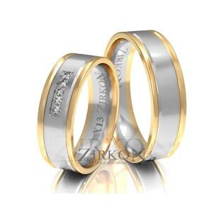 Obrączki ślubne dwukolorowe z kamieniami nr ZI X-013