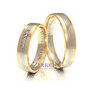 Obrączki ślubne dwukolorowe z kamieniami nr ZI X-014