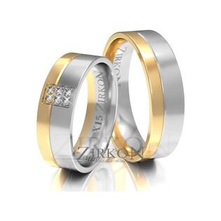 Obrączki ślubne dwukolorowe z kamieniami nr ZI X-015