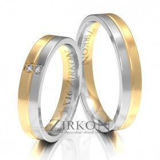 Obrączki ślubne dwukolorowe z kamieniami nr ZI X-016