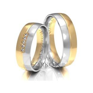 Obrączki ślubne dwukolorowe z kamieniami nr ZI X-020