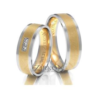 Obrączki ślubne dwukolorowe z kamieniami nr ZI X-021