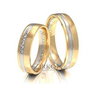 Obrączki ślubne dwukolorowe z kamieniami nr ZI X-025