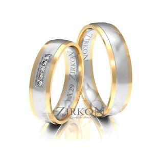 Obrączki ślubne dwukolorowe z kamieniami nr ZI X-029