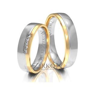Obrączki ślubne dwukolorowe z kamieniami nr ZI X-032 Sezam - 1