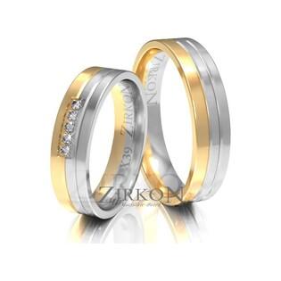 Obrączki ślubne dwukolorowe z kamieniami nr ZI X-039