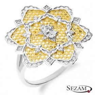 Pierścionek dwukolorowy ze srebra kwiat z cyrkoniami nr A0 A0_094