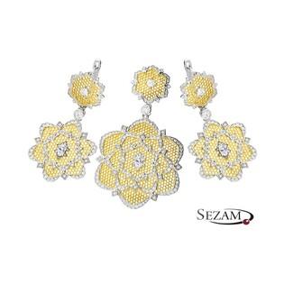 Komplet dwukolorowy ze srebra kwiat z cyrkoniami nr A0 A0_094