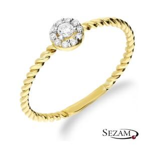 Pierścionek złoty Ring z kwiatkiem z cyrkoniami nr AR 200377-YW próba 333