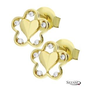 Kolczyki złote serce w kwiatku MZ T5-ES-990-CZ-ST próba 333