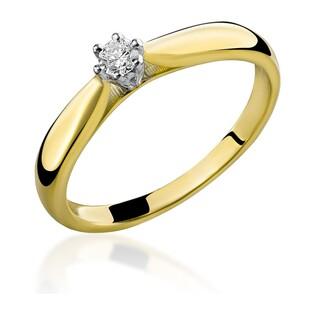Pierścionek złoty z diamentem Soliter RS0137 próba 585