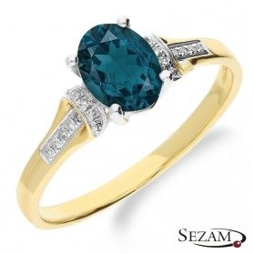 Topaz blue London 1,21ct+bryl.0, KU 9 LBT blue London próba 585