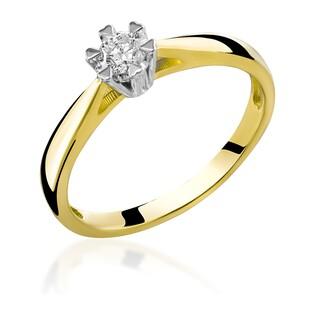 Pierścionek złoty zaręczynowy z diamentem Soliter RS0139 próba 585