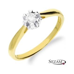 Pierścionek złoty zaręczynowy z diamentem typu Flower RS0126 próba 585