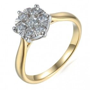 Pierścionek złoty zaręczynowy z diamentami Luna AW 74222 YW próba 585 Sezam - 1