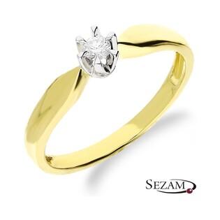 Pierścionek zaręczynowy klasyczny z diamentem RS0041 próba 585