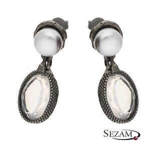 Kolczyki ze srebra z perłami i kwarcem różowym MY M4422 MOTYLE próba 925