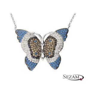 Naszyjnik motyl niebiesko-żółto-biały/anke A0 FIR_010  próba 800