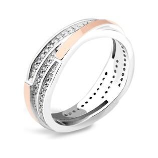 Pierścionek srebrny z cyrkoniami i złotem PX 543_AU375 blaszka rose