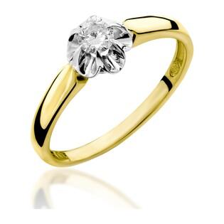 Pierścionek zaręczynowy z diamentem FLOWER RS0157 próba 585 Sezam - 1