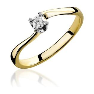 Pierścionek złoty zaręczynowy z diamentem  SOLITER RS0356 próba 585