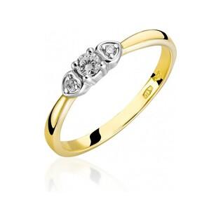 Pierścionek zaręczynowy złoty z diamentami SOLITER RS0264 próba 585