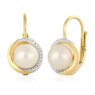 Kolczyki perła+bryl 0,06ct/bigiel zam. AW 34407 Y próba 585