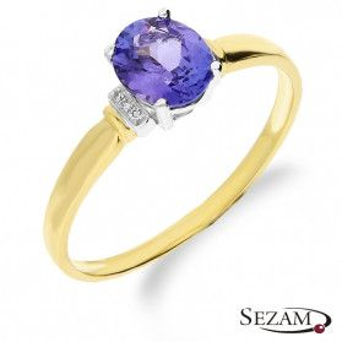 Pierścionek zaręczynowy złoty z tanzanitem i diamentami KU 12 TNZ próba 585