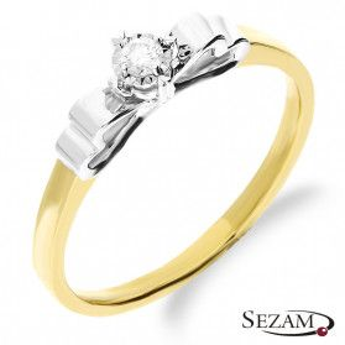 Pierścionek złoty zaręczynowy z diamentem AMADO Magic KU 21 próba 585