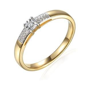 Złoty pierścionek zaręczynowy z diamentami SOLITER Magic AW 73494 YW próba 585