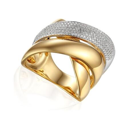 Złoty pierścionek zaręczynowy bogato zdobiony diamentami typu DUBAJ AW 49017 YW próba 585