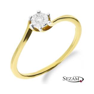 Złoty pierścionek zaręczynowy SOLITER Magic z diamentem KU 6025 próba 585
