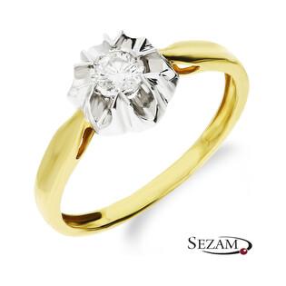 Pierścionek złoty zaręczynowy FLOWER z diamentem KU 1014 próba 585